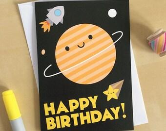 Kawaii Space Happy Birthday Card