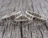 Custom Name Ring Sterling Silver Personalized Stackable Ring Hand Stamped Mothers Ring Posey
