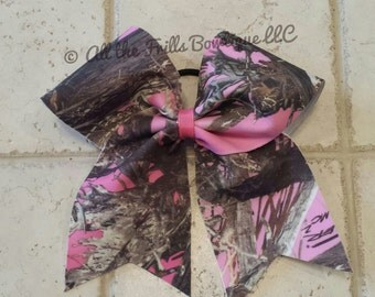 Hot pink camo cheer bow