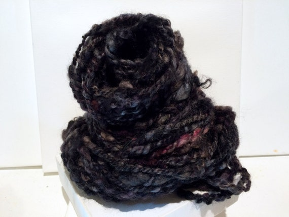 Thick and Thin Bulky yarn, Handspun, lockspun, Black, Grey, Slate Blue ...