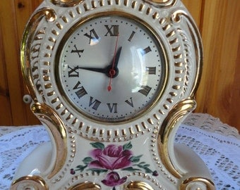 Vintage Ceramic Mantel Clock Movement By Sessions and Lanshire