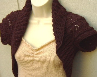 Chocolate Brownie Knit Shrug with Diamonds and Eyelet Lace-Large  bolero vestsweater shrug brown wedding prom bridal evening formal cover-up