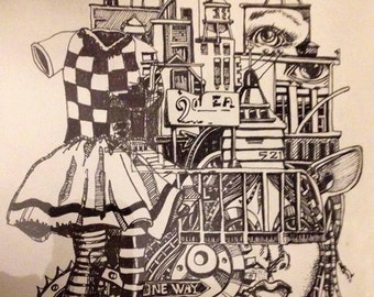 adult coloring book page Illustration  by Mary Vogel Lozinak  zentangle DIY goddess steampunk fantasy city scape oddity