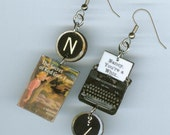 Book cover earrings - Nancy Drew The Secret of Red Gate Farm - typewriter quote - readers librarian mystery book club gift - mismatched