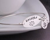 Yoga Jewelry, Breathe Bangle Bracelet,  Lotus Jewelry Gift, Yoga Teacher Gift, Yoga Lover Gift