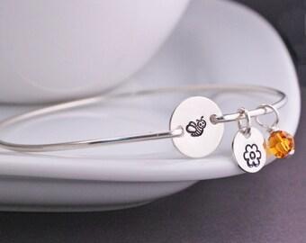 Bee Bracelet, Personalized Bumble Bee Jewelry, Gift for Gardener, Bee Jewelry, Gardening