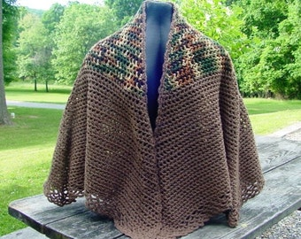 Brown Cape With Garden Blend Yoke - Wardrobe Accessory - Handmande - Crochet