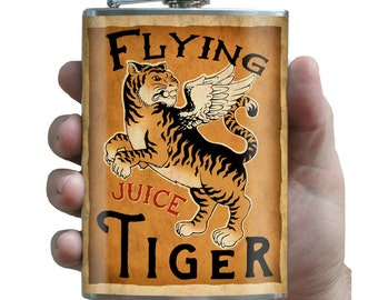 Flying Tiger - 8oz Stainless Steel Flask - comes in a GIFT BOX -  by Trixie & Milo