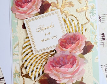 Thank You Card featuring Three Dimensional Roses and Gold Embellishments. Blank handmade greeting card.