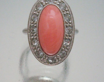 Avon Faux  Coral Oval Rhinestone Ring