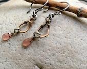 Gem & Brass link Earrings