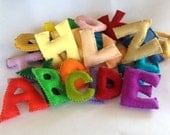 Alphabet Felt Letters, Entire Alphabet, All Natural and Eco Friendly, Waldorf Soft Plush Toy Set, Back To School