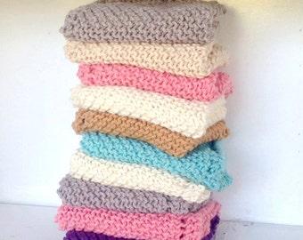 Organic Cotton Washcloth Set - Set of 2 -  Natural Decor - Hand knit - Housewarming Gift