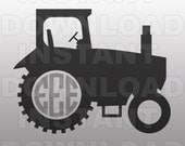 Farm Tractor Monogram SVG File Cutting Template-Vector Clip Art for Commercial and Personal Use-Download-Cricut,Cameo,Explore,SCAL,Decal