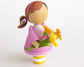 Made to Order small girl figurine with flowers, quilled paper art doll, gift under 75, keepsake