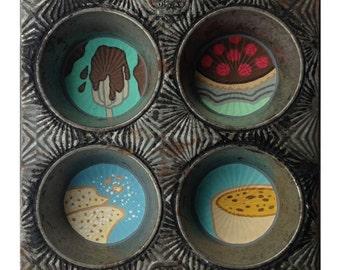 Reliquary - Original Painting on Vintage Baking Tin