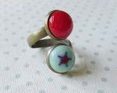 Wrap Ring, Fused Glass Ring , Adjustable Double Bohemian Ring, Handmade Fused Glass, Red and Pale Green