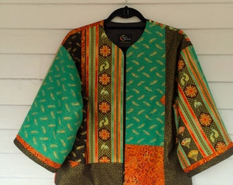 Tangerine and Turquoise Jacket with a Far East Flair