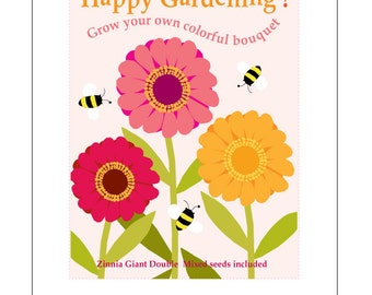 Kids gardening card Grow your own Zinnia flower bouquet seed kit gardening greeting card with zinnia seeds
