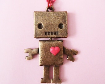 Robot Love Doll Face Necklace