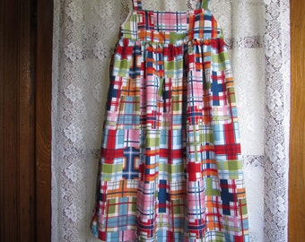 Girl Jumper or Dress  Michael Miller Plaid Patchwork Madras Fabric Girl  5 And 6 Ready to Ship