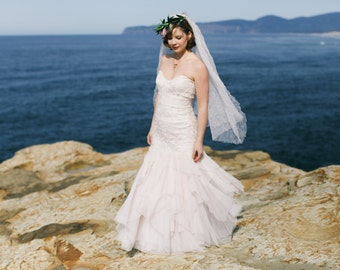 Wild Roses Blush Layered Tulle Wedding Gown - Made to Order