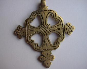 Ethiopian Coptic Cross, cross pendant, Ethiopian jewelry, African pendant, brass cross, brass pendant