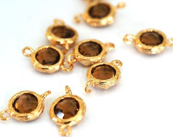 Sale Top Quality 2pcs Brown Glass Polished Real Gold Plated Brass Links GLAA