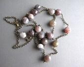 Botswana Agate Necklace, Long Chain with Gemstones, Boho Necklace, Earthtone Agate Jewelry