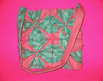 Handmade handstiched cloth origami purse handbag