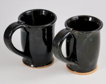 Set of Two Black Mugs Wheel Thrown Stoneware Clay Pottery