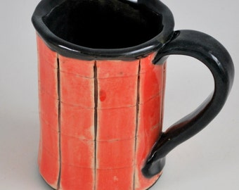 Red and Black Ceramic Mug with Squares Hand Built Stoneware Pottery