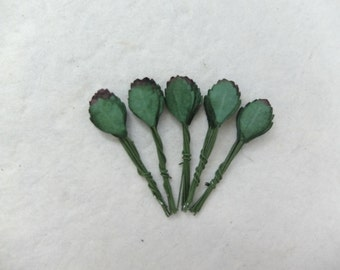 50 miniature mulberry paper leaves - tiny leaves - dark green leaves