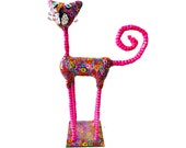 Cat sculpture /home decor / home design/polymer clay/ handmad/pink  /Collectibles /made in Israel