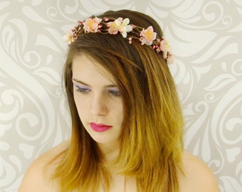 Pink Woodland Flowercrown, Rustic Bridal Headpiece, Cherry Blossom Crown, Boho Hair Wreath, Bridal Hair, Fairy, Cosplay, Fantasy