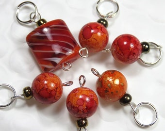 Special Stitch Marker Set -- Lampwork Fire Red and Orange