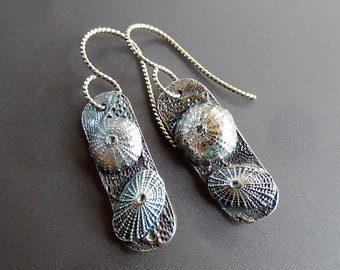 Silver Sea Urchin and Keyhole Limpet Dangle Earrings with Handmade Sterling Rope Earwires