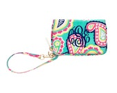 Monogrammed  Paisley Cell Phone Wrislet Clutch Mint Navy Hot Pink Paisley