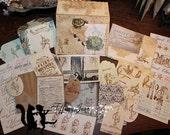 TiffanyJane-Flower of France-Papier Set Paper tags-home decor-Mixed media-Art Collage-Vintage Style Keepsakes-Paper goods