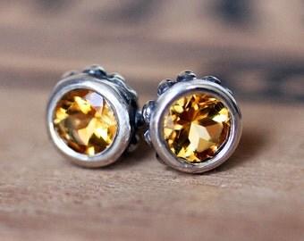 Citrine stud earrings, citrine studs, bezel earrings, November birthstone earrings, gemstone stud earrings, gift, wrought, ready to ship