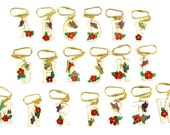 Vintage Initial Letter Enamel Flower Key Chain - You Choose - A B C D E F G H I J K L M N P R S T W - (J800)