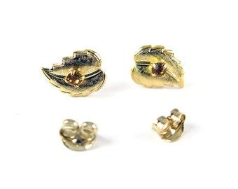 Vintage Gold Plated Stud Earrings - Leaf with Topaz Rhinestone (2 pairs) (J557)