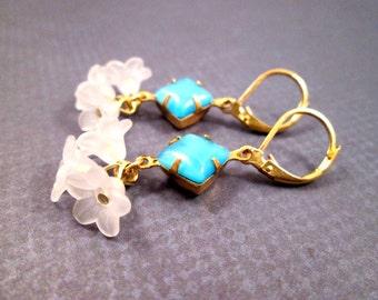 Ruffle Flower Earrings, Frosty White Blossoms and Aqua Blue Moonstone, Gold Dangle Earrings, FREE Shipping U.S.