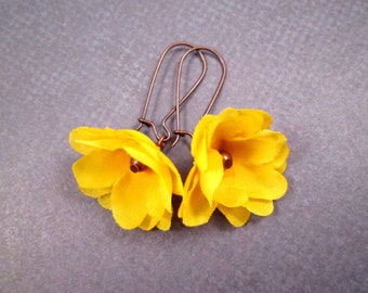 Flower Earrings, Sunny Yellow Roses, Fabric Flower and Copper Dangle Earrings, FREE Shipping U.S.