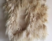 Natural color cream shaggy wool felt pelt wall hanging