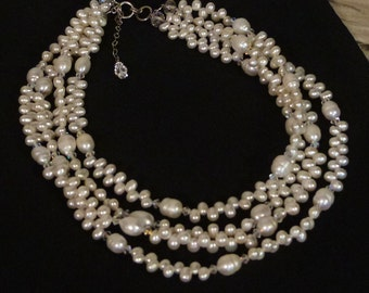 Freshwater Pearls and Swarovski Crystals Four Strand Necklace