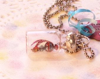 """Firefly Lightning Bug Vial Necklace Secret Message in Bottle Soldered Necklace """"Appreciate"""""""