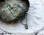 Vintage Rhinestone and Blue Glass Bead One of a Kind Necklace.. Doll Face Four