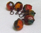 Unakite Glass Beaded Charm Dangles, Brown & Green, Wire Wrapped 6pc Set, Jewelry Components, Earring Findings