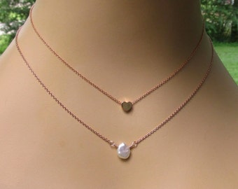 Rose Gold Tiny Heart or Keshi Pearl Necklace, Dainty Gold Layering Necklaces, Delicate Minimalist Jewelry Gift for Her